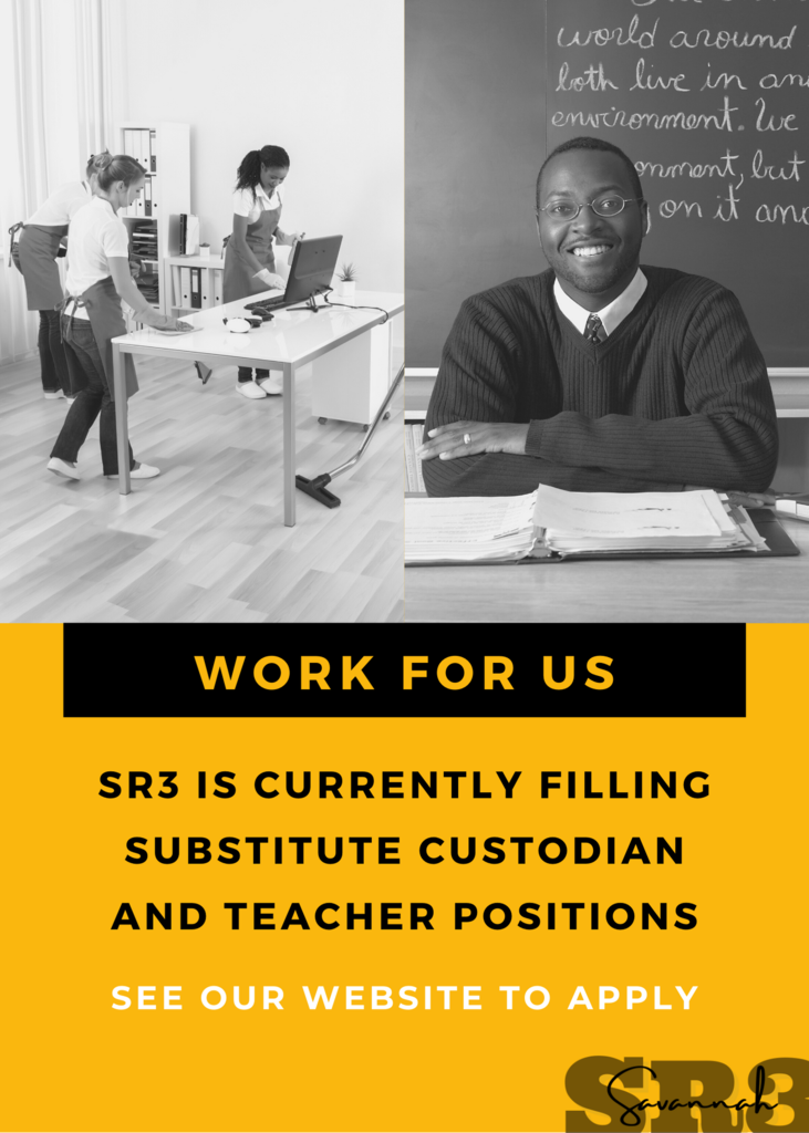 work for us flyer. SR3 is looking for substitute custodians and teachers.  see our website to apply.