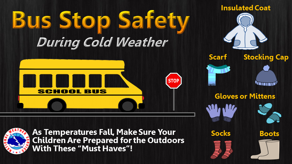 reminder to dress warm at the bus stop