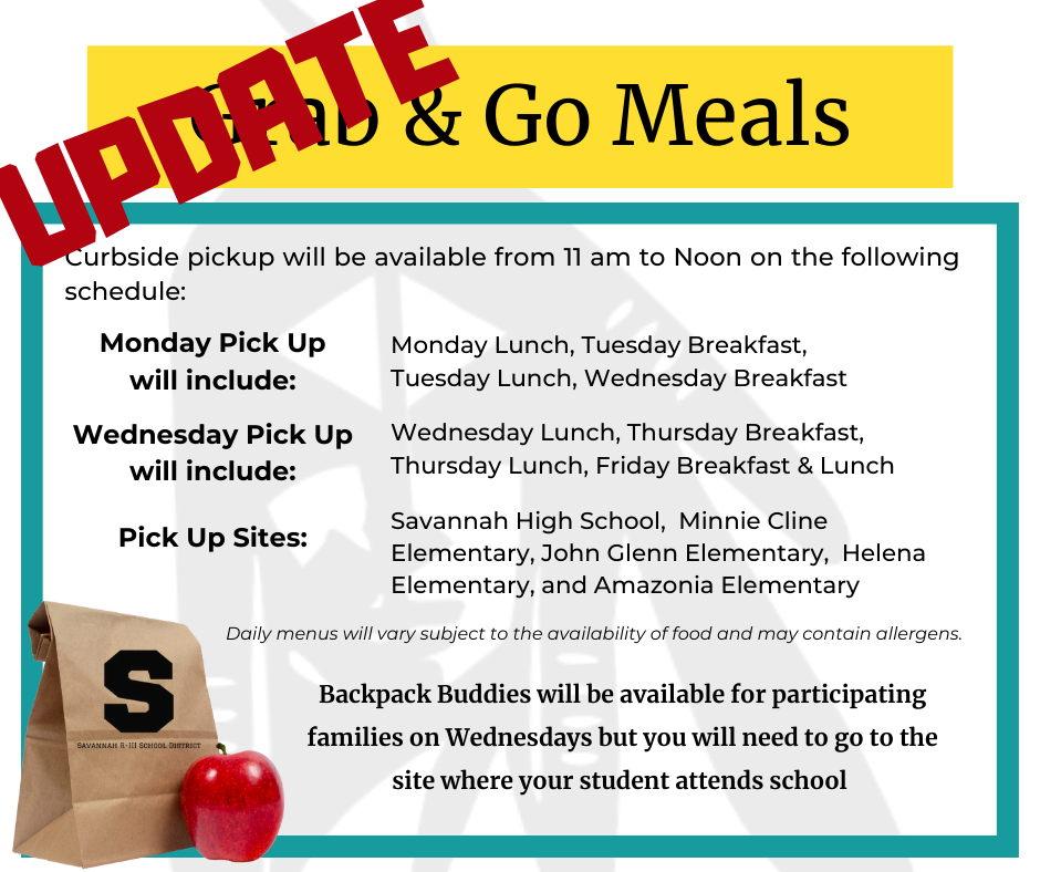 Meals will be available for Pick up on Monday and Wednesday
