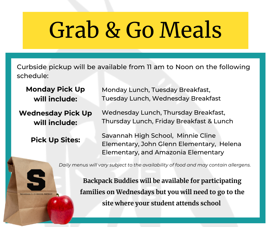 Grab & Go Meals Monday and Wednesday from 11am to Noon