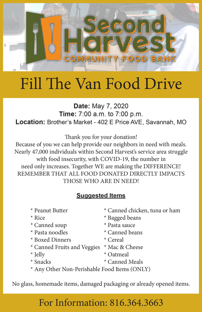Fill the Van Food Drive Flyer