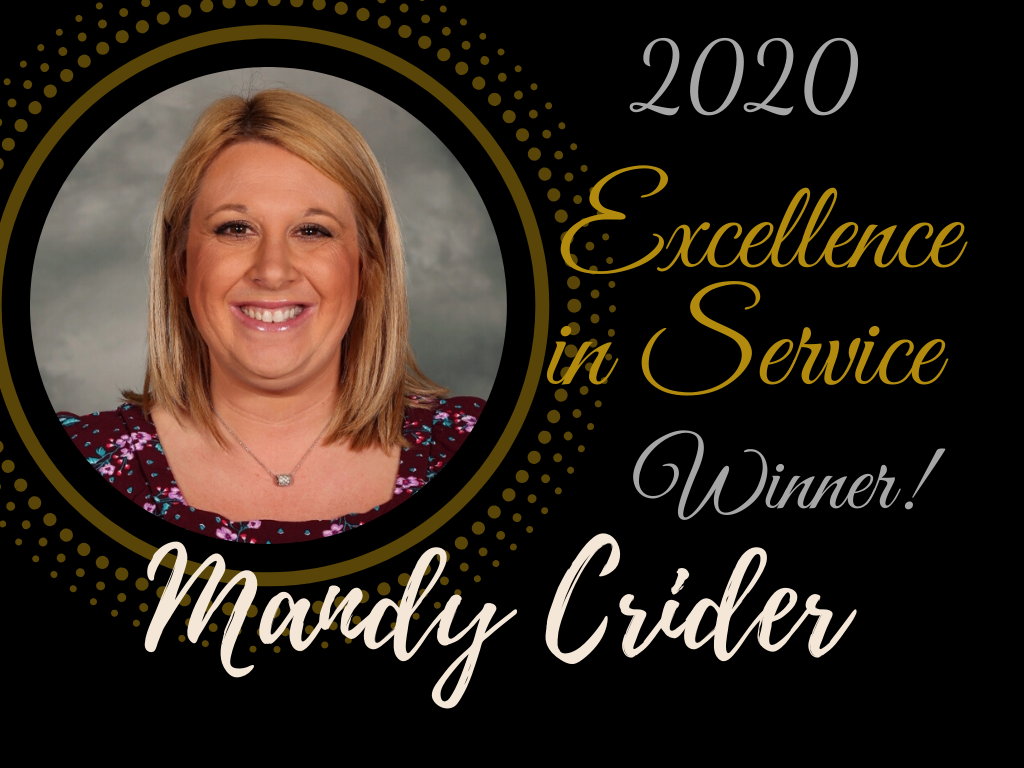 Excellence in Service Award Winner, Mandy Crider