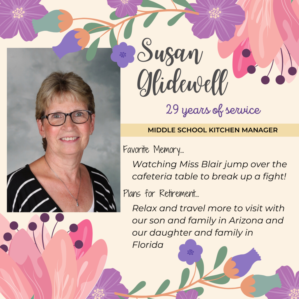 Retirement announcement for Susan Glidewell