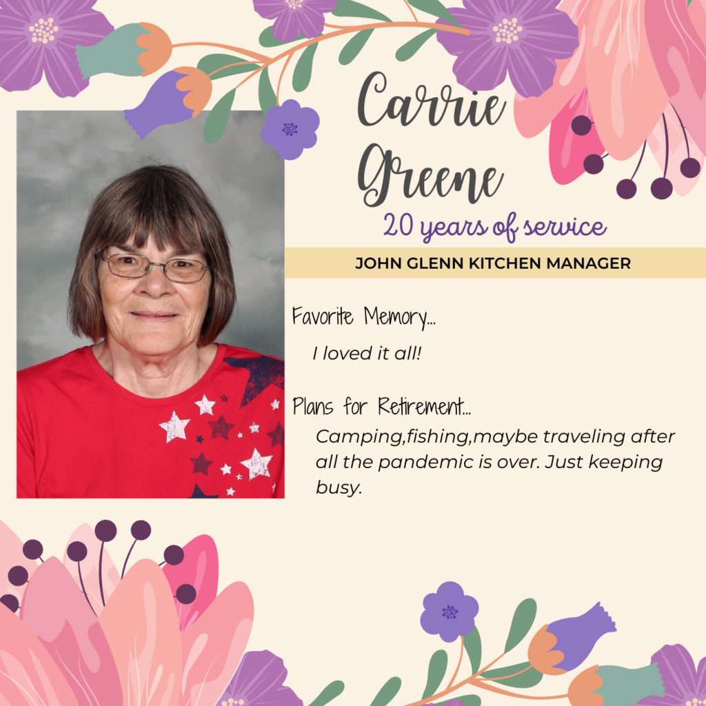 retirement announcment for Carrie Greene