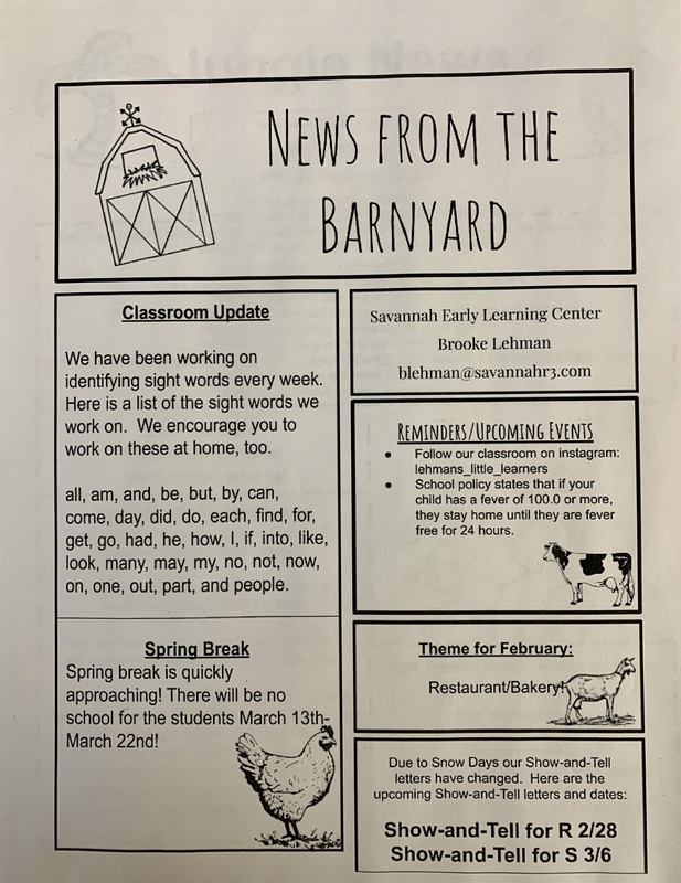 Preschool Newsletters